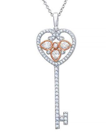 与Tiffany同款!CRISLU Key to the Kingdom Heart 心形钥匙项链 58.65加元,原价 138加元