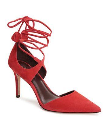 COACH 麂皮系带高跟鞋 177加元(2色),原价 295加元,包邮