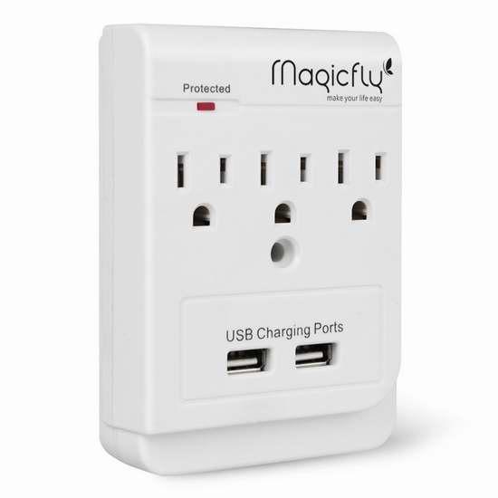 Magicfly Power 3 插座 + 2 USB充电 电涌保护 插座充电器 13.59加元限量特卖!