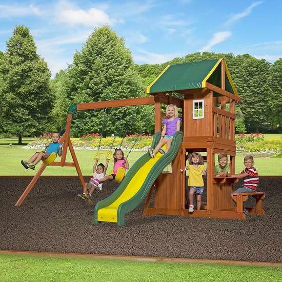 逆季清仓!历史新低!Backyard Discovery 65114 Oakmont 实木儿童秋千组合3.3折 431.66加元包邮!