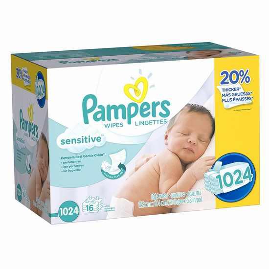 Pampers 帮宝适 敏感 婴幼儿湿巾纸(1024抽) 18.5加元包邮!