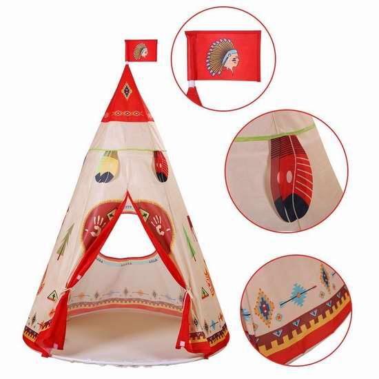 售价大降!历史新低!PlayMaty 便携式印第安风格儿童帐篷 19.99加元限量特卖并包邮!