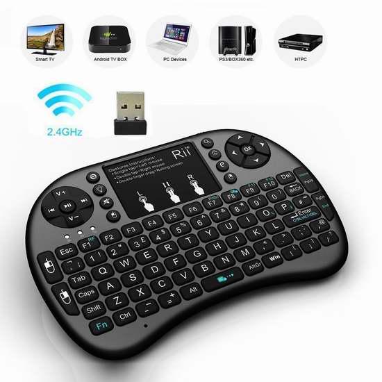 Rii i8+ 2.4GHz 触摸板无线多媒体LED背光迷你键盘 18.69加元限量特卖!