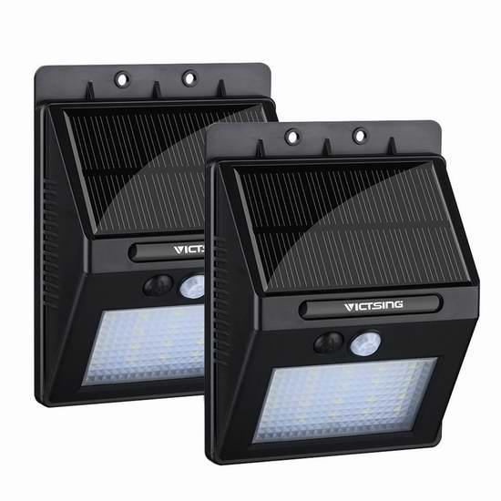 VicTsing 20 LED 超亮 400lm 12小时超长照明太阳能户外感应灯2件套 15.99加元清仓!