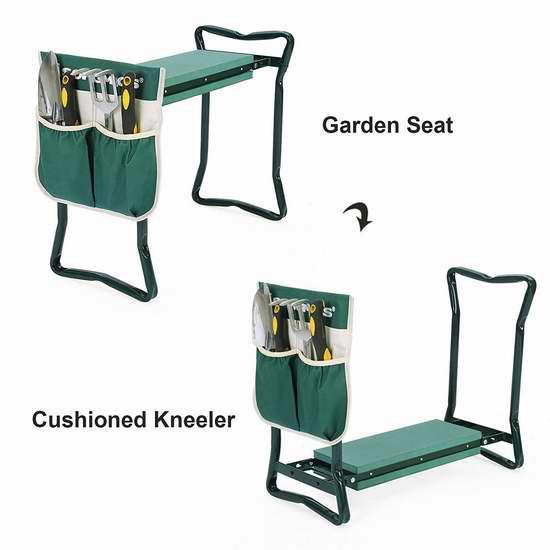 SONGMICS 便携式多用途庭院折叠凳/跪凳+园艺工具袋 22.94加元限量特卖!