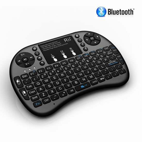 Rii i8+ BT 蓝牙无线触摸板多媒体LED背光迷你键盘 27.19加元限量特卖!