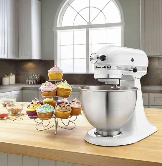 KitchenAid K45SSWH 4.5夸脱 经典系列立式多功能搅拌厨师机 249.99加元包邮!2色可选!