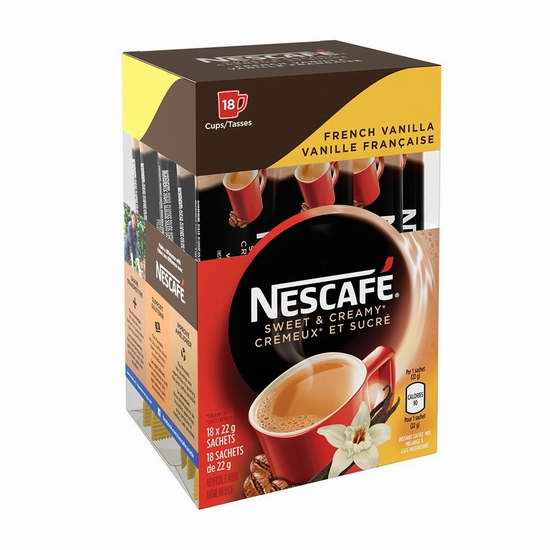历史新低!Nescafé 雀巢 香甜奶油法式香草免煮速溶咖啡(18小袋装) 5.49加元限时特卖!