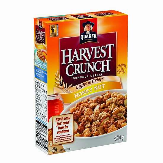 历史新低!Quaker 桂格 Harvest Crunch 纯天然早餐脆燕麦片470克 1.97加元限时特卖!