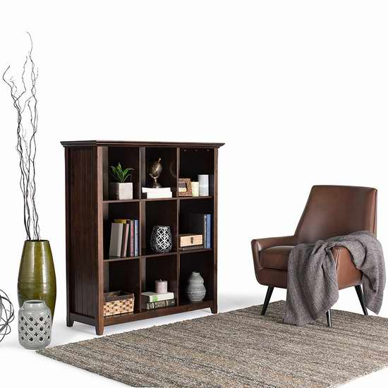 历史最低价!Simpli Home Acadian 9格实木书柜/展示陈列柜 154加元限时特卖并包邮!