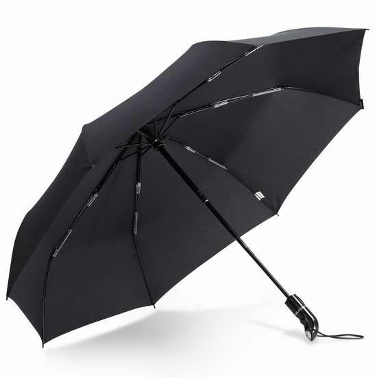 Fnova 45英寸黑色折叠式自动雨伞 13.59加元限量特卖!