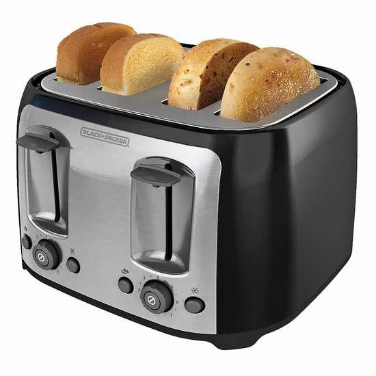 近史低价!BLACK+DECKER TR1478BD 4片烤面包机5折 34.99加元!
