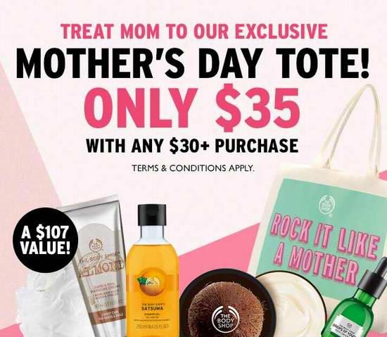 The Body Shop 美体小铺 满30加元,购买价值107加元母亲节大礼包仅需35加元!