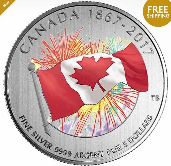 销量亚军!2017 Proudly Canadian 国庆150周年 夜光纯银 纪念币 29.95加元销售并包邮!