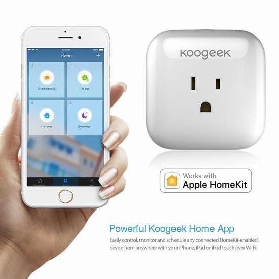 独家:历史最低!Koogeek Homekit 智能远程遥控插座 29.99加元限时特卖并包邮!黑、白两色可选!