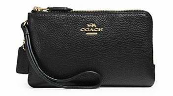 COACH 女士时尚粒面真皮双角拉链腕包 65.99加元限时特卖!