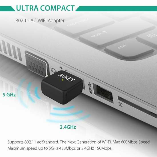 AUKEY AC600 583Mbps 迷你双频无线网卡 10.99加元限量特卖!