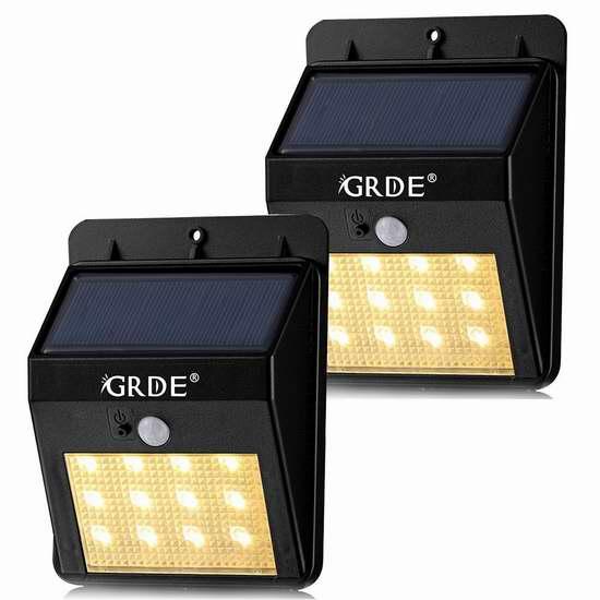 GRDE 12 LED 太阳能防水运动感应灯2件套 18.99加元限量特卖并包邮!