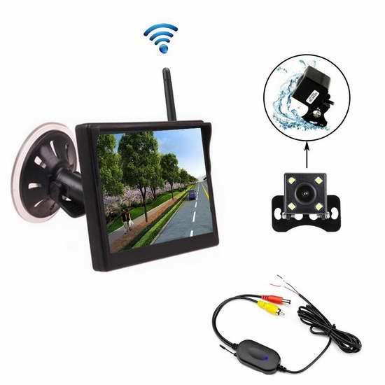 Camecho 5英寸车载无线超大广角夜视 倒车后视监视摄像头套装 68.84加元限量特卖并包邮!