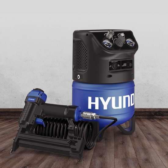 售价大降!历史新低!Hyundai 现代 HHC2GNK 2加仑立式电动空气压缩机+二合一钉枪套装4.5折 58.5加元限时特卖并包邮!