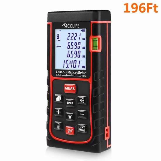 Tacklife 196英尺 专业激光测距仪 43.99加元限量特卖并包邮!