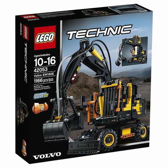 历史新低!LEGO 乐高 42053 科技组 Volvo EW160E 沃尔沃挖掘机积木套装(1166pcs) 114.99加元限时特卖并包邮!
