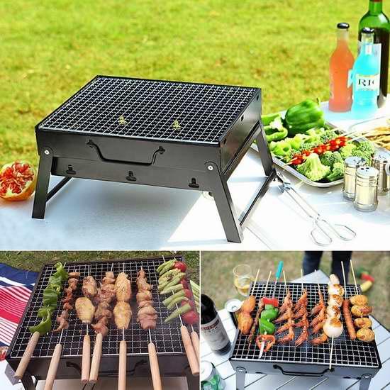 KV.D 折叠便携式不锈钢碳烧BBQ烧烤炉 48.44加元限量特卖并包邮!
