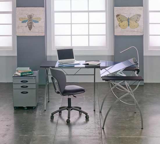 历史新低!Studio Designs Catalina 10080 可倾斜L型钢化玻璃办公桌/书桌4.4折 195.74加元限时特卖并包邮!