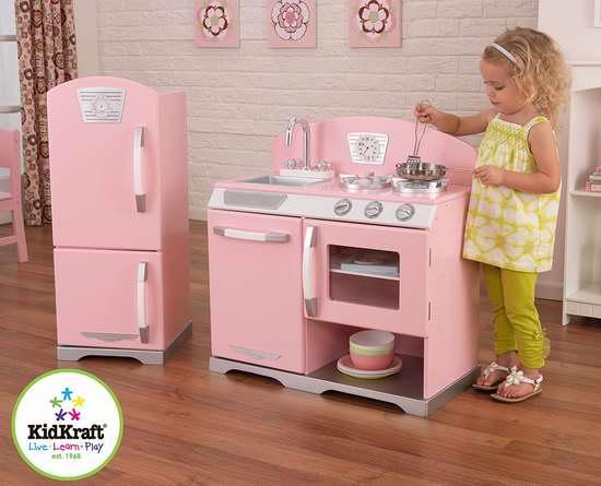历史最低价!KidKraft 粉红复古儿童玩具厨房+冰箱套装4.6折 119.99加元包邮!
