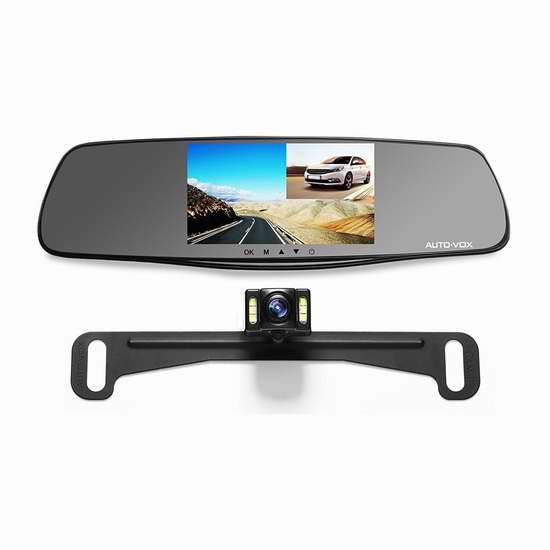 历史新低!升级版 AUTO-VOX M3 1080P 全高清广角5英寸后视镜行车记录仪+倒车后视摄像头套装5.2折 105.53加元包邮!