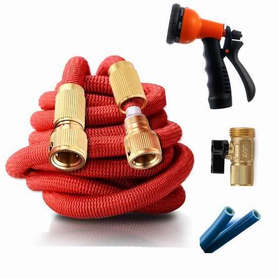 KINDEN 25-100英尺 轻质弹性伸缩庭院浇水软管+喷头套装 28.04-49.29加元限量特卖并包邮!