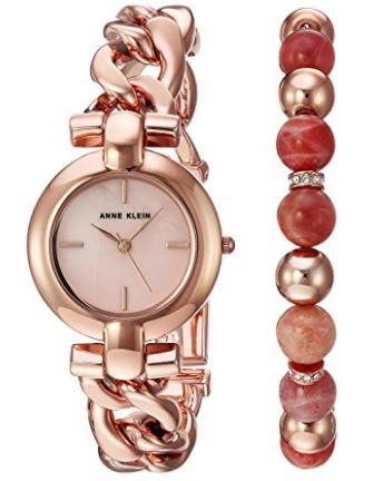 Anne Klein AK/2836SUNS 女士玫瑰金腕表+施华洛世奇水晶手链 66.28加元,原价 168.75加元,包邮