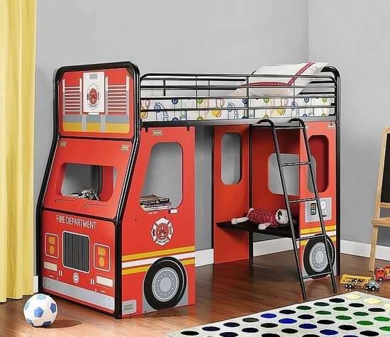 大幅降价!历史新低!DHP Imagination  Fire Truck 消防车 儿童twin床 209.99加元限时特卖并包邮!