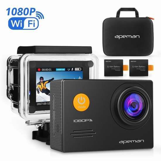 APEMAN 1080P 全高清超大广角无线WiFi运动摄像机/行车记录仪+双锂电池+支座附件套装 63.74加元限量特卖并包邮!