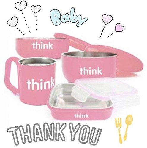 高颜值!Thinkbaby 粉色儿童餐具 47.99加元,原价 55.27加元,包邮