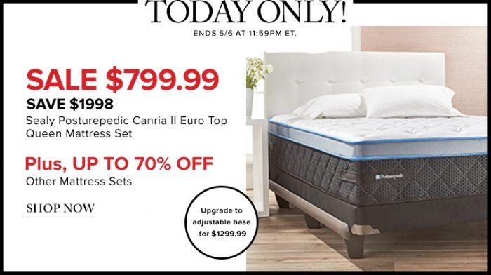 24小时闪购!精选 131款SIMMONS、SEALY、SERTA等品牌床垫 3折起特卖!