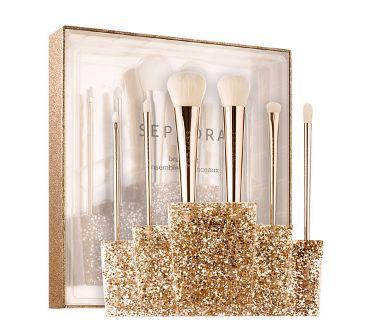 高颜值!SEPHORA COLLECTION Glitter 金色化妆刷套装 74加元,原价 106加元,包邮