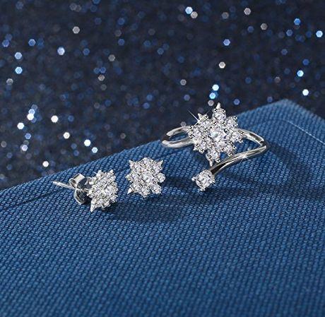 独家!J.Rosée 925纯银雪花耳环+戒指套装 20.87加元,原价 89.99加元,包邮