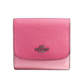 COACH Crossgrain 粉色小号折叠钱包 69加元,原价 115加元