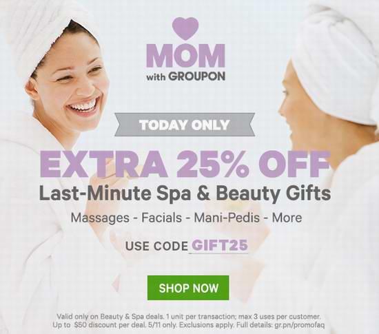 Groupon母亲节闪购!全场 Spa、桑拿、美容、美体团购特价销售,额外再打7.5折!