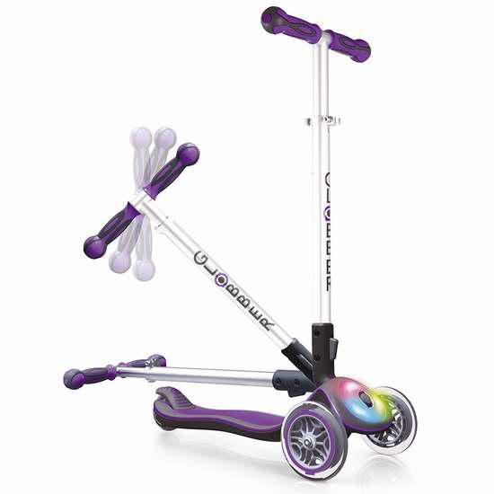 Globber 高乐宝 Elite 炫酷LED轮 紫色成长型3轮滑板车 59.99加元限量特卖并包邮!