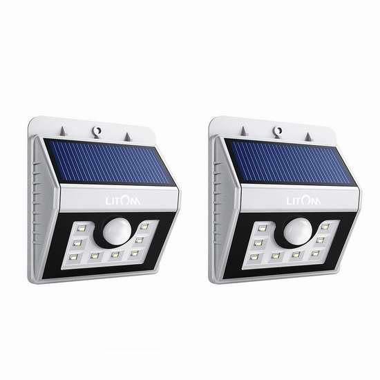 Litom 8 LED 太阳能防水运动感应灯2件套 28.99加元限量特卖并包邮!
