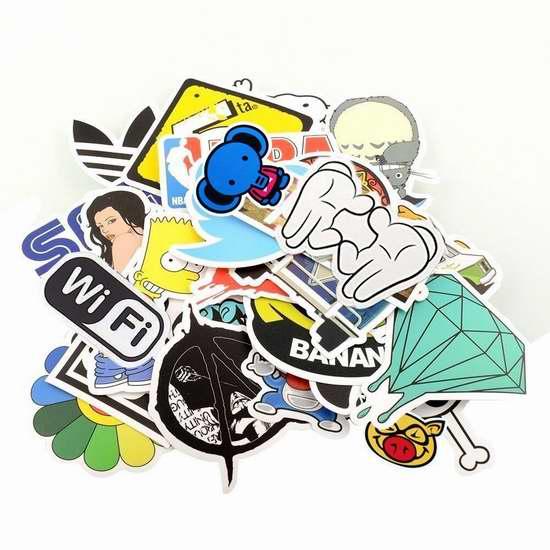 StillCool yong8 复古时尚涂鸦防水贴纸100件套 6.12加元限量特卖!