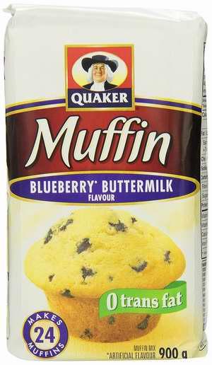 历史新低!Quaker Muffin Mix 蓝莓口味 蛋糕粉(900克x12包)超值装4.9折 22.53加元限时清仓!