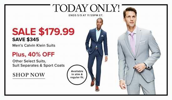 今日闪购:精选16款 Calvin Klein 男士精品纯羊毛西服套装全部3.4折 179.99加元限时抢购并包邮!