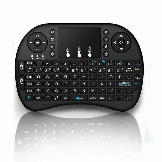 Globmall 三合一带触摸板 92键无线多媒体迷你键盘 13.59加元限量特卖!