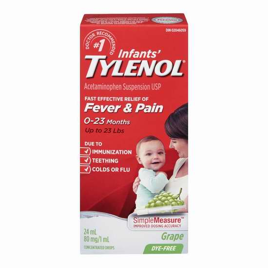 历史最低价!Tylenol 泰诺 Infants 葡萄口味 婴儿感冒发退烧止痛滴剂24ml装 5.67-5.97加元限时特卖!
