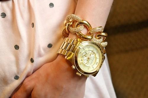 Michael Kors MK8077 Runway 男式时尚金色三眼腕表 144.95加元限量特卖并包邮!
