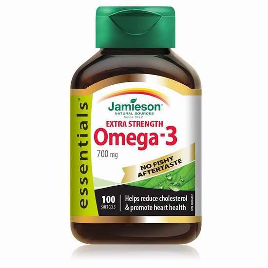 历史新低!新款 Jamieson 健美生 加强型 Omega-3 无腥味深海鱼油100粒装 10.65-11.47加元限时特卖!