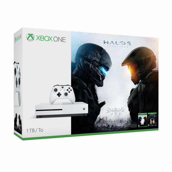 历史新低!Xbox One S 1TB 家庭娱乐游戏机+《光环5:守护者》+《光环:士官长合集》套装 349.96加元限时特卖并包邮!